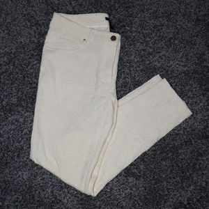 H & M Embossed Stretch Ivory White Slacks Size 10